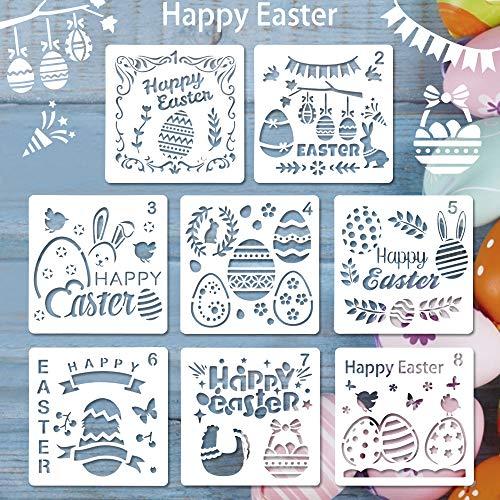 BUZIFU 8 Stück Ostern schablonen Set Kunststoff Zeichnung Malerei Schablone für Kinder, Ostern basteln, osternkarten, Körpermalfarben, Ostern deko und ostergeschenke
