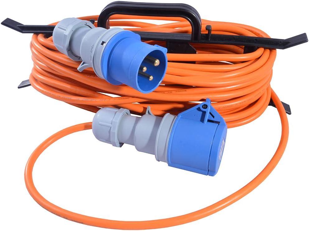 BLUE CARAVAN HOOK UP EXTENSION LEAD 5M 25M 240V MAINS ELECTRIC CABLE 16A