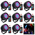 KOOT Disco Light, 8 Pack 78LEDs Stage Lights 7 Lighting Modes party Light RGB Colourful Par Lights Flexible Remote Control DMX Control DJ Lights