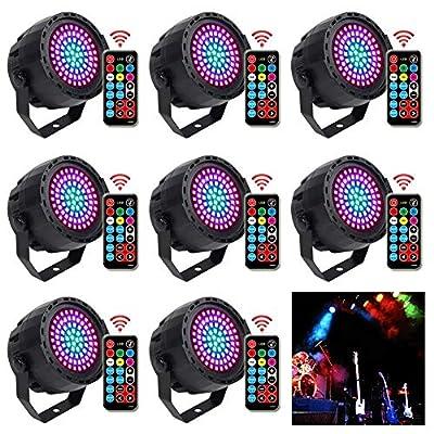 KOOT Disco Light, 8 Pack 78LEDs Stage Lights 7 Lighting Modes party Light RGB Colourful Par Lights Flexible Remote Control DMX Control DJ Lights