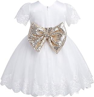 b882be91c8592 Freebily Sequins Robe de Baptême Soirée Bébé Fille Dentelle Robe  d anniversaire Princesse Manches Courts