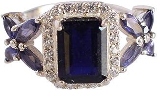 Ravishing Impressions Jewellery Exclusivo anillo de plata de ley 925 con piedra de iolita, joyería de diseño FSJ-5257