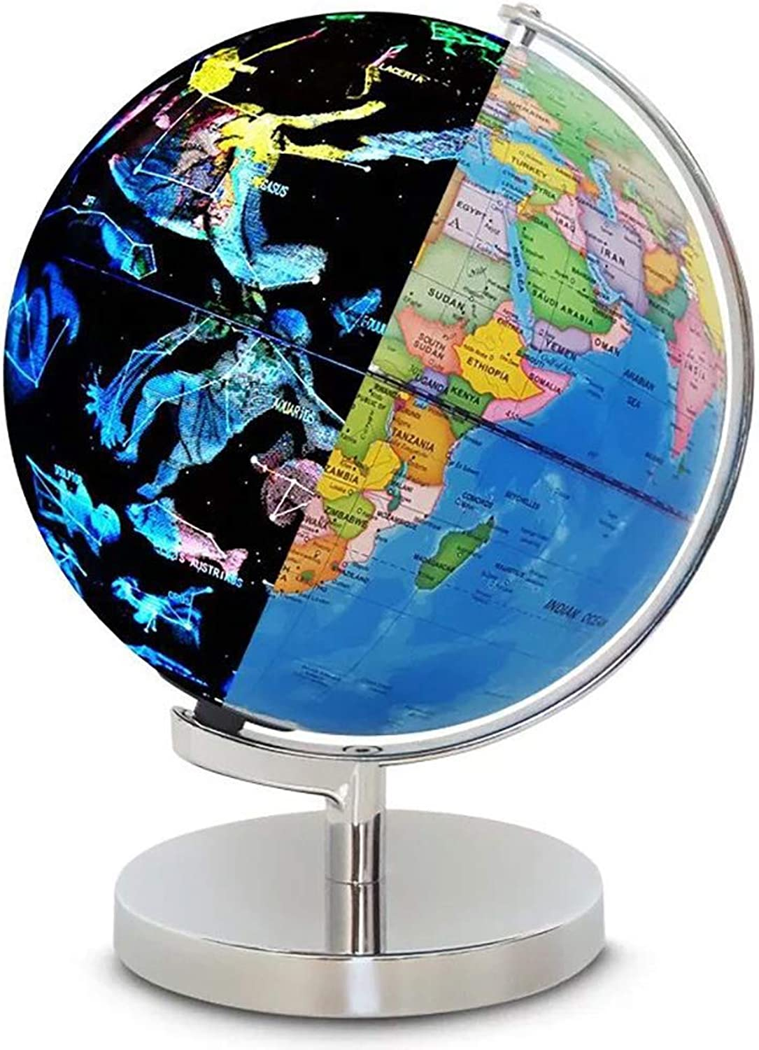 Admier Weltkugel mit Licht 2 in 1 Globus Erde und Sternbilder LED-Lampen Nachtansicht USB-Ladelampe Educational World Globe für Home Office Dekoration