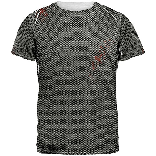 Old Glory Halloween Battle Damage Chainmail Costume All Over Adult T-Shirt - Large White