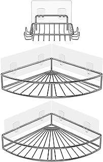 Oriware Adhésif Étagère d'angle Serviteurs de Douche avec Porte-Savon Salle-de-Bains Triangulaire pour Rangement Acier Ino...