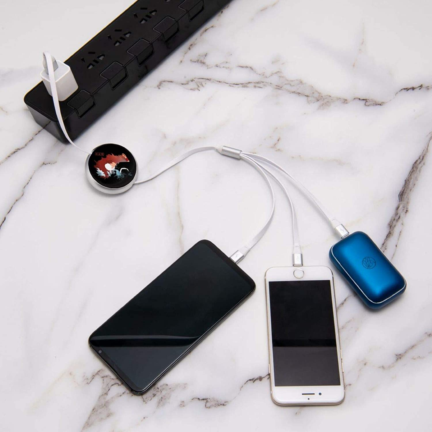 Hero Academi-a Todoroki Shoto 3 in 1 Retractable Multiple Charging Cable 3.0a Fast Charger Cord with Phone//Type C//Micro USB Charge Port Adapter Compatible with Cell Phones Tablets and More