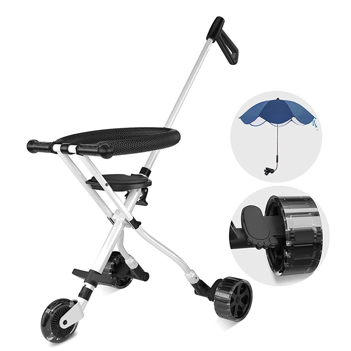 Geling 2 Baby Stroller One Step Design for Open & Fold Travel Stroller for Airplane Lightweight Stroller For Travel, Airplane Tricycle for Toddler 18 months-4 Years Old with Sunshade Umbrella