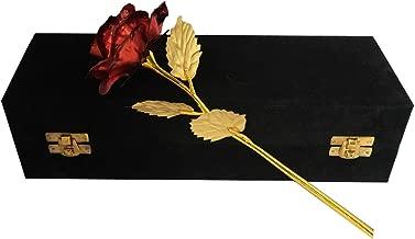 INTERNATIONAL GIFT Red Rose 25 cm and Black Velvet Box (25 cm, Red)