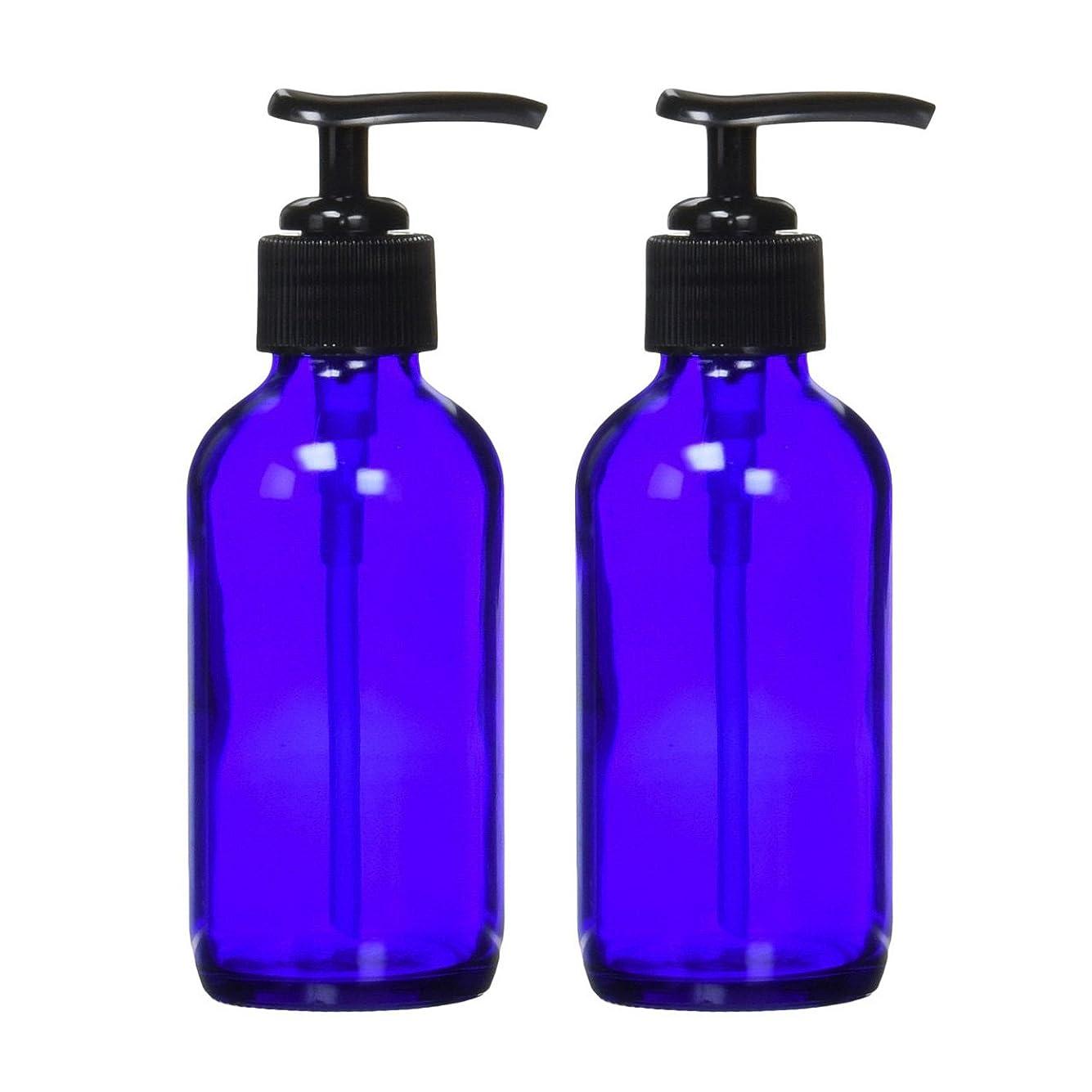言い聞かせる急ぐウガンダ生活の木 青色ガラスポンプ瓶 (遮光瓶) 120ml (2本セット)