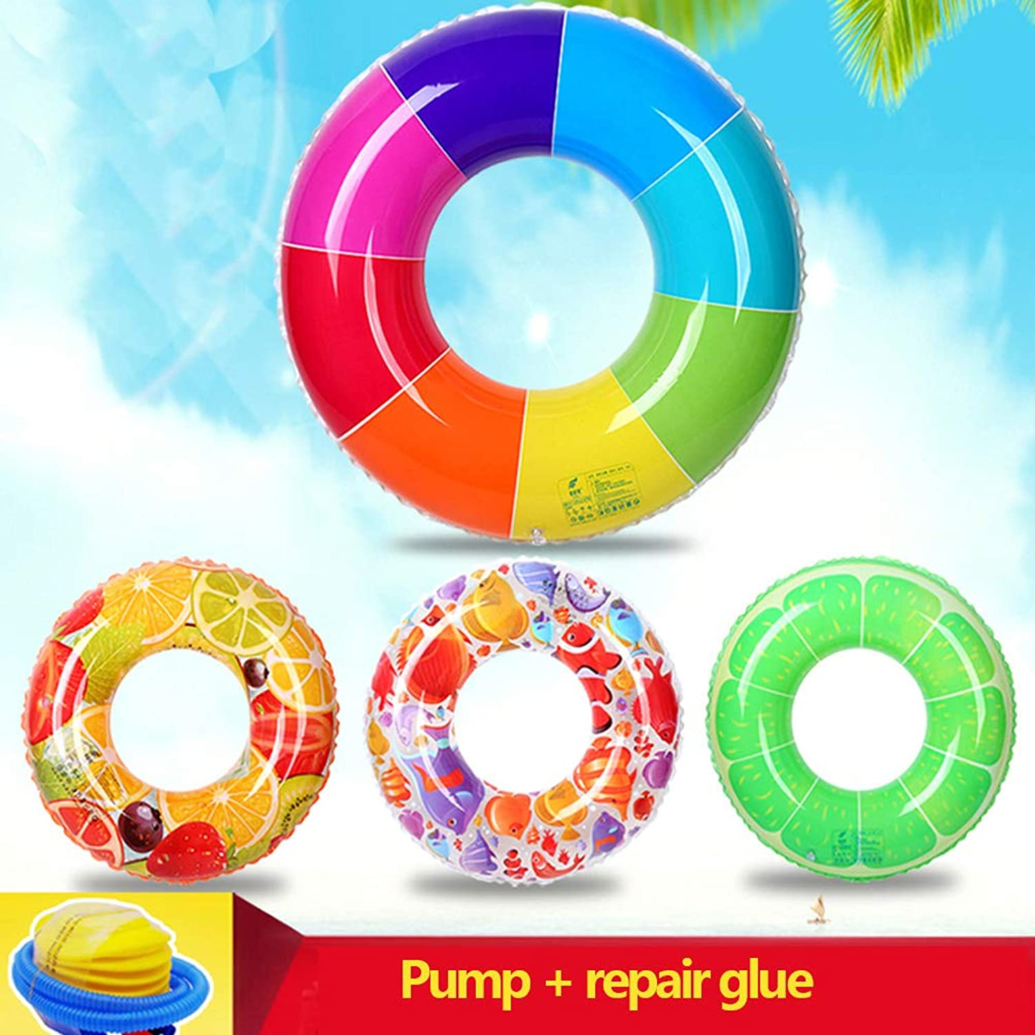 Thicken Adult Boys and GirlsInflatable Pool Float Rainbow Increase Swim Ring Fruit Lifebuoy Baby Float Pool Toy