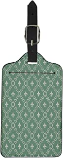 Semtomn Luggage Tag Abstract White and Green Fleur De Lis Pattern That Suitcase Baggage Label Travel Tag Labels