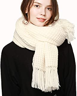 Women's Autumn Winter Long Scarf Simple Solid Color Hollow Warm Wool Shawl for Girls Gift,200 X 70cm