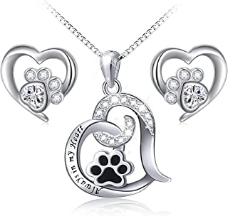 925 Sterling Silver Cute Paw Print Forever Love Heart...