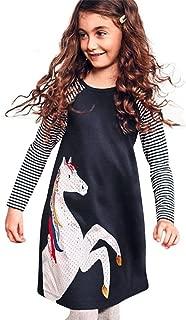 TIFENNY Toddler Baby Girl Kid Spring Dress, Children Horse Print Stripes Sleeves Princess Party Dress