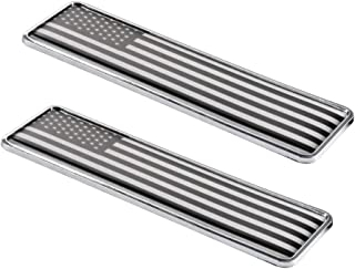 1797 Car Stickers Decals Accessories US USA America Flag Stars Stripes Metal Vehicle Decorations Emblem Door Bumper Trunk Tailgate Aluminum Alloy Waterproof Cute Funny Cool White Black Pack of 2