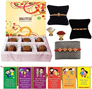 BOGATCHI Rakhi with Chocolates -Set of 3 Rakhi for Brother + 6 Piece Chocolate Box+ Free roli chawal+ Bro sis Greeting Card