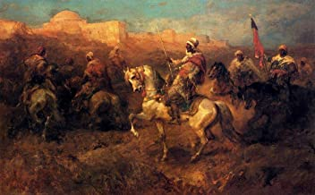 30 Famous Arabian Paintings - AED200-4000 Hand Painted by Academic Artists - Arab Horsemen On The March Adolf Schreyer - A...
