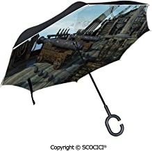 SCOCICI Auto Open Inverted Umbrella Doorway with Blinded Door and Window to The Rural Tuscan House Italy Europe UV Protection Umbrella for Car Rain Outdoor with C-Shaped Handle