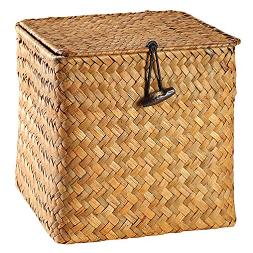 YARNOW Seagras Aufbewahrungsbox Weidenkorb Gewebter Korb mit Deckel Wäschekörbe Kosmetik Organizer Aufbewahrungskorb Desktop Organizer L