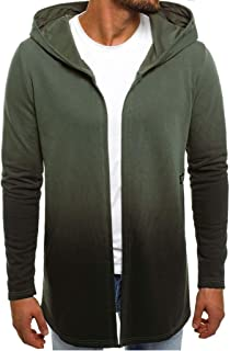 Sunward Coat for Men,Men Gradient Hooded Solid Trench Coat Jacket Cardigan Long Sleeve Outwear Blouse