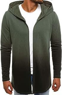 LUCAMORE Men's Zipper Hooded Trench Jacket (Solid/Camouflage/Gradient) Long Cardigan Sweatshirt Coat Plus Size