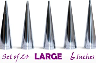 Extra Large Cone Molds - Lady Lock Form Set of 24 Pastry Forms, Cream Horn Mold. Stainless Steel