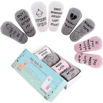 4 Pair Baby Anti-slip Funny Saying Letter Socks Cotton Ankle Socks for Baby Boys Girls