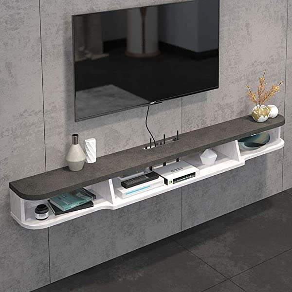 Floating Shelf 2 Tier Modern Wall Mounted TV Shelf TV Stand Floating TV Media Console Wall Cabniet Component TV Shelf Hanging Storage Cabniet For Xbox One PS4 Cable Box DVD Players Game Console