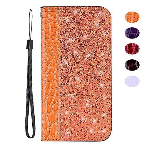 vingarshern Hülle für DOOGEE F5 Schutzhülle Etui Klappbares Magnetverschluss Flip Case Lederhülle Glitzer Handytasche Doogee F5 Hülle Leder Tasche MEHRWEG(Orange)