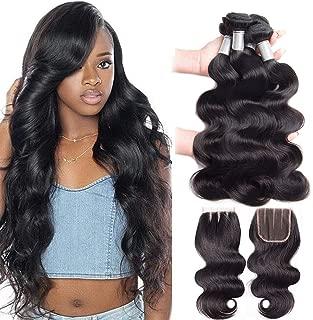 Premium 10A Brazilian Body Wave with Closure (16 18 20''+14'') 100% Unprocessed Brazilian Virgin Human Hair Weave, No Tangle Brazilian Body Wave Hair Bundles with 4x4 Lace Closure 3 Part,Natural Color