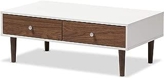 Baxton Studio Gemini Wood Contemporary Coffee Table, White