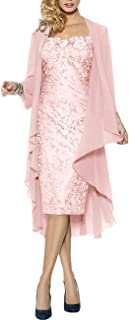 H.S.D Lace Mother of The Bride Dresses Formal Gowns with Chiffon Jacket Wraps