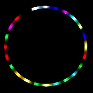 HYDONG LED Hula Hoop Weighted Dance & Fitness Glow Light Up Hoola Hoops for Adults, 24 Color Strobing Changing LED Light, 8 Section Detachable Design, Portable Hula Hoops 36