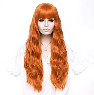 FHKGCD Femmes Longue Ondulée Blonde Perruque Synthétique avec Frange Gris Rose Cheveux Cosplay Fille Perruque Résistant À ...