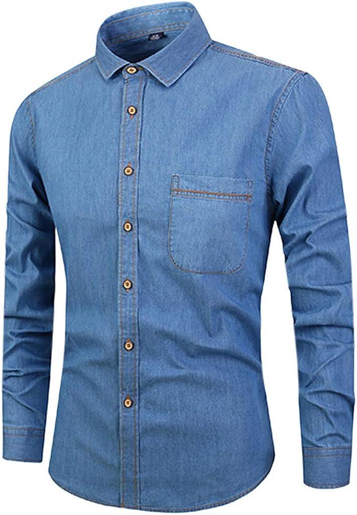 MODOQO Men's Long-Sleeve Solid Button Down Plus Size Shirts