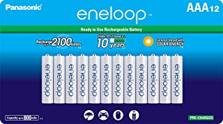 Panasonic BK-4MCCA12BA Eneloop AAA 2100 Cycle Ni-MH Pre-Charged Rechargeable Batteries, 12 Pack