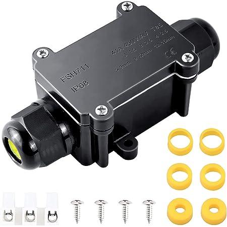 Caja Estanca Exterior IP68, 2 vías, M20 Caja Conexiones Electricas, para cajas de cable de alimentación externas de 5 a 15 mm, conector de cable para exteriores, caja de conexión eléctrica, Negro