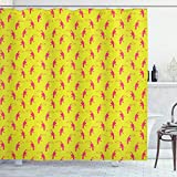 ABAKUHAUS Fuchsie Duschvorhang, Tropical Toucan, Waserdichter Stoff mit 12 Haken Set Dekorativer Farbfest Bakterie Resistet, 175x240 cm, Rosa, Gelb, Grün
