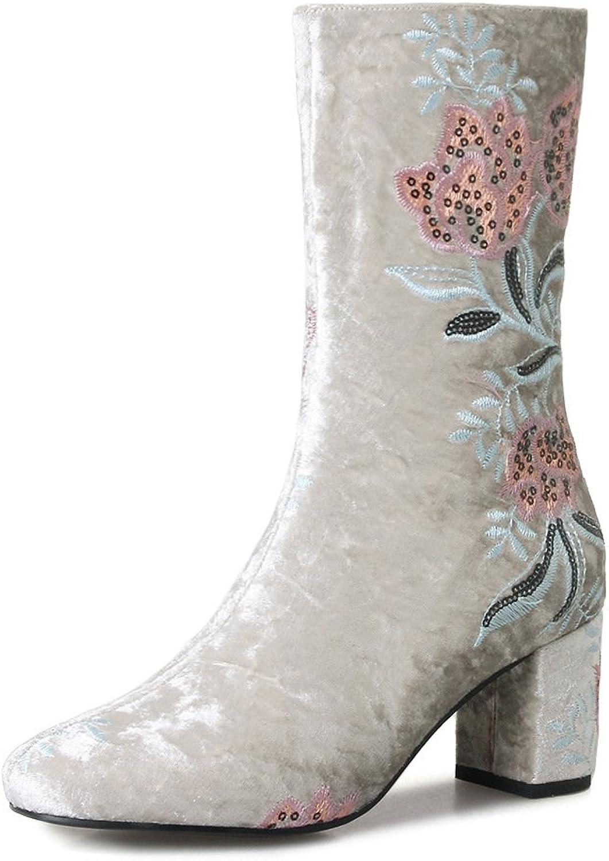 Booslipss, Folk -Cust Embroideröd skor Ladies Winter Plus Plus Plus sammet Round Head Thick Heel guld sammet Martin stövlar (Färg  B, Storlek  35)  säljer bra över hela världen