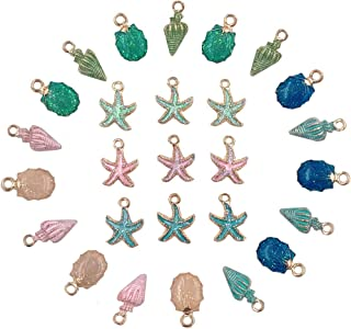 Sea Charms,27pcs Conch Starfish Shell Charms Alloy Enamel Pendants Shell Dangles Alloy Beads Jewelry Making Charms Kit