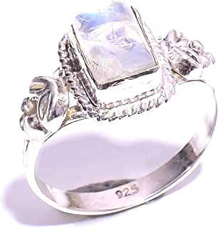 mughal gems /& jewellery 925 Sterling Silver Ring Natural Green Amethyst Gemstone Fine Jewelry Ring for Women Size 6 U.S