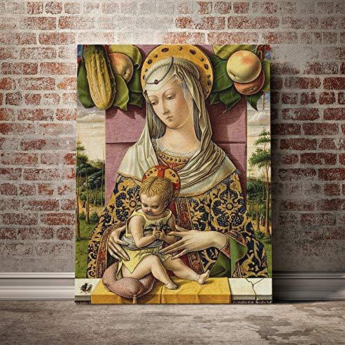 wojinbao Kein Rahmen Carlo Crivelli Madonna und Kind Malerei Leinwand Poster Wandkunst Dekor Wohnzimmer Schlafzimmer Studie Home Decoration Prints