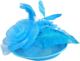 Topgrowth Cappelli Eleganti Donna Copricapo Nozze Cappello da Festa Cappelli Cerimonia Vintage Piuma Fiore Partito Cappello