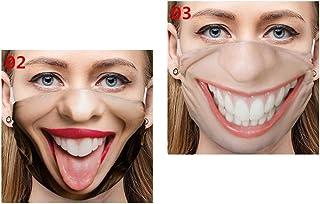 2 Pack Funny Masks Washable & Reusable Funny Face Mask for Women Men