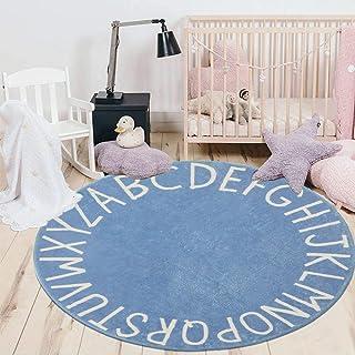 Child Rug,Fluffy Play Room Boy Girls Room Kids Room Rug,Alphabet Round Carpet Bedroom Rug