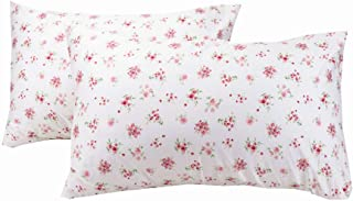 YIH 2-Piece Floral White Pillowcase Set 600 Thread Count 100% Cotton Hypoallergenic, Standard Size