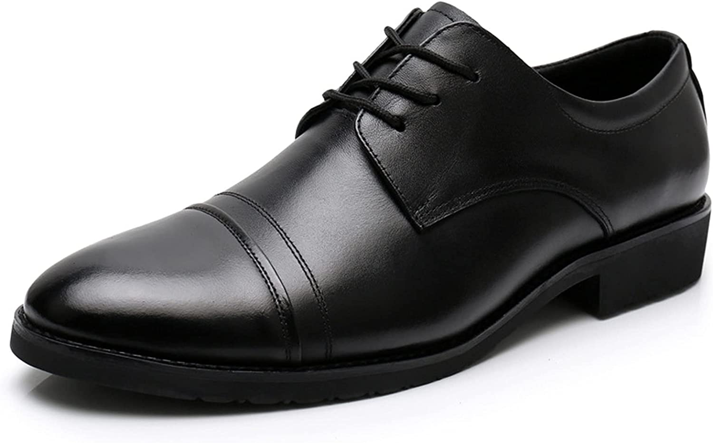 Pointedd Formal Dress Oxford for Men Low Block Heel Round Toe Slip Resistant Party (Color : Black, Size : 41EU)