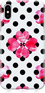Loud Universe Case for iPhone XS Wrap around Edges Valentines Day Couples Love Black Polka Dot Pink Heart Pattern Sleek De...