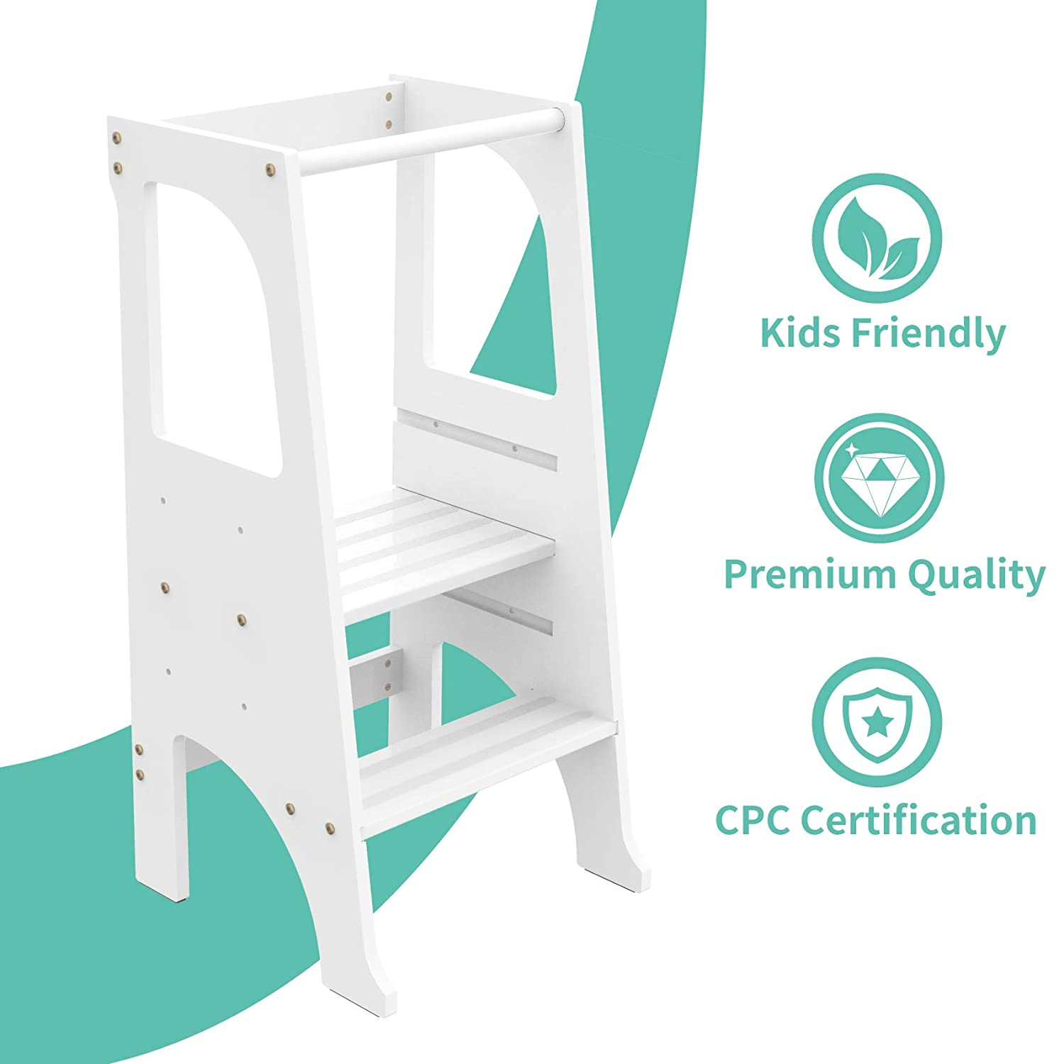 Steady Feet White Wooden Learning Toddler Tower 2 Steps Design FUN /& CARE Kitchen Step Stool for Kids with Safety Rail 3 Adjustable Platform Anti-Slip