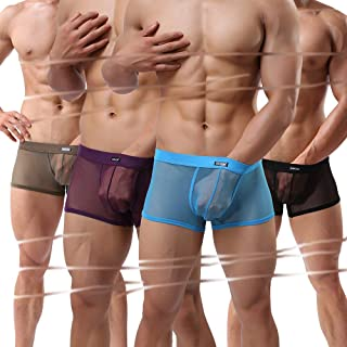Sheii Mens Boxer Briefs Soft Mesh Breathable Underpants Men's Sexy Underwear Cool Design See-Through Trunks Pack